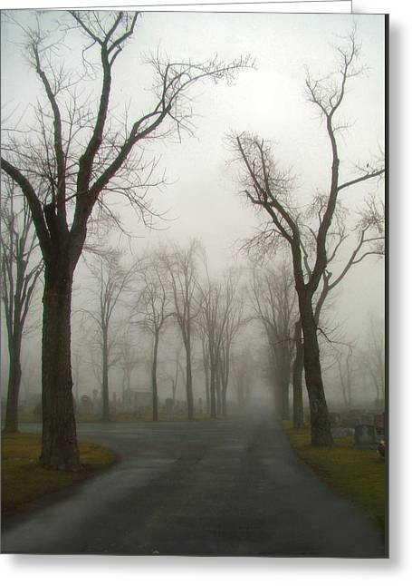 Foggy Cemetery Road Greeting Card by Gothicrow Images