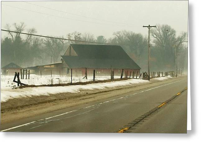 Foggy Country Farm In Twin Lakes  Greeting Card by Rosemarie E Seppala