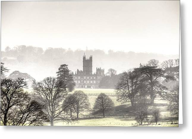 Foggy Day At Highclere Castle Aka Downton Abbey Greeting Card