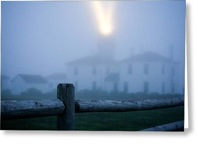 Foggy Day At The Lighthouse Greeting Card by Allan Millora Photography