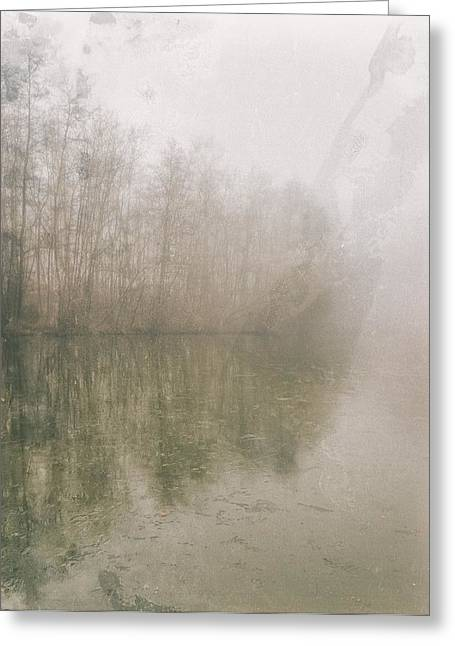 Foggy Day On The Border Of The Lake Greeting Card