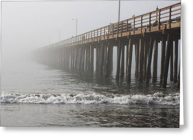 Foggy Dock Greeting Card by Jim Young