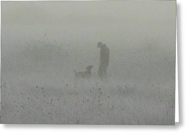 Foggy Dog Walk Greeting Card