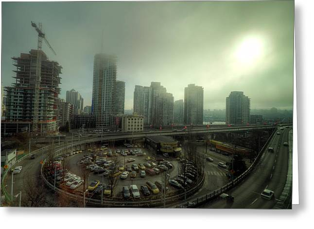 Foggy Downtown Vancouver Greeting Card by Eti Reid
