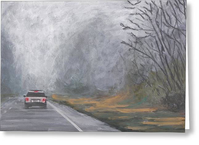 Greeting Card featuring the painting Foggy Drive Home by Robert Decker