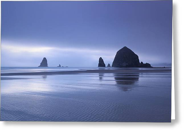Foggy Evening At Cannon Beach Greeting Card by Katherine Gendreau
