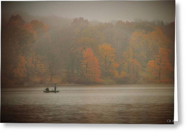 Foggy Fishing Greeting Card by Lorella  Schoales