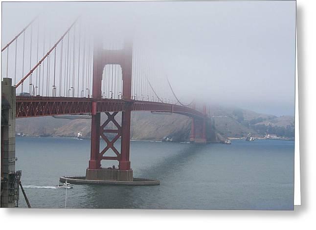 Foggy Golden Gate Greeting Card by Linda Mans