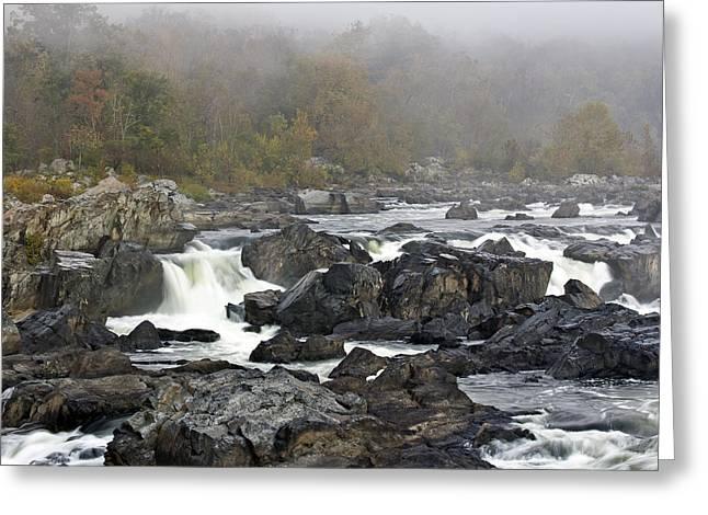 Foggy Great Falls Greeting Card