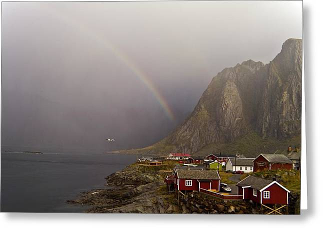 Foggy Hamnoy Rorbu Village Greeting Card by Heiko Koehrer-Wagner
