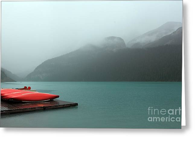 Foggy Lake Louise In Banff Alberta Greeting Card