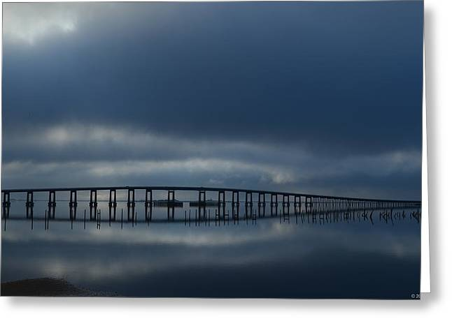 Greeting Card featuring the photograph Foggy Mirrored Navarre Bridge At Sunrise by Jeff at JSJ Photography