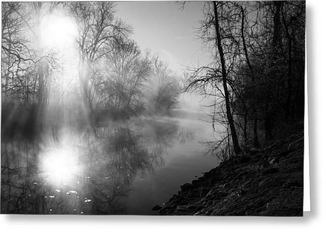Foggy Misty Morning Sunrise On James River Greeting Card