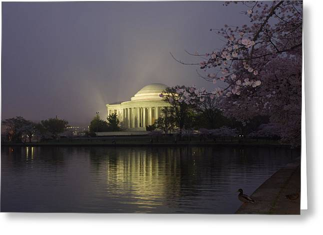 Foggy Morning At The Jefferson Memorial 1 Greeting Card