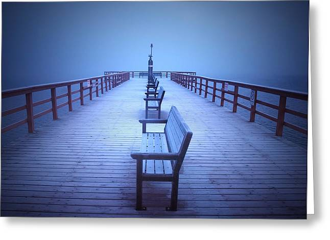 Foggy Morning At The Pier Greeting Card