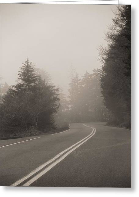 Foggy Morning Drive Greeting Card by Dan Sproul