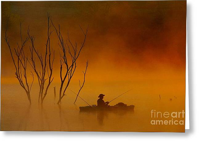 Foggy Morning Fisherman Greeting Card