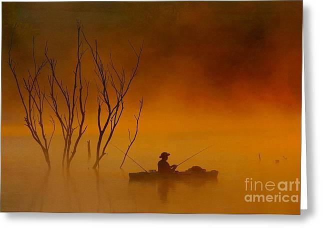 Foggy Morning Fisherman Greeting Card by Elizabeth Winter