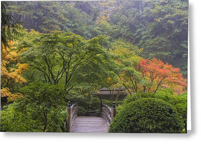 Foggy Morning In Japanese Garden Greeting Card
