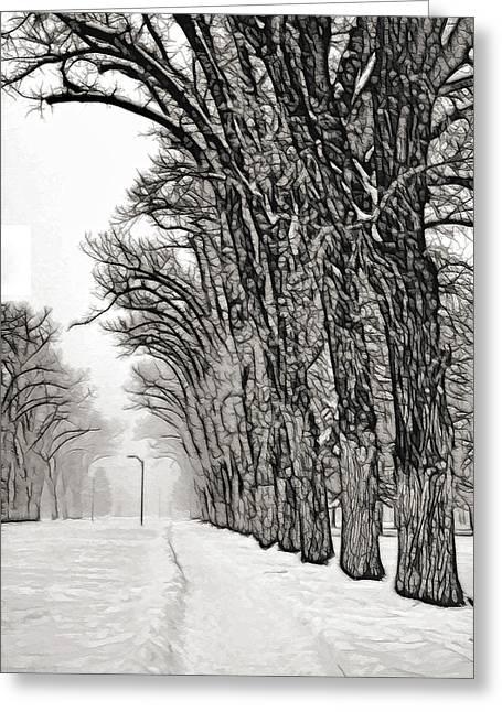 Foggy Morning Landscape - Fractalius 7 Greeting Card by Steve Ohlsen