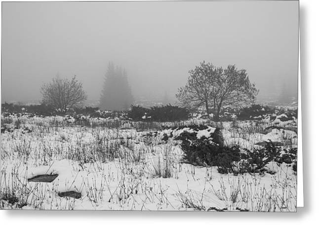 Greeting Card featuring the photograph Foggy Morning Mountain Snow by Jivko Nakev