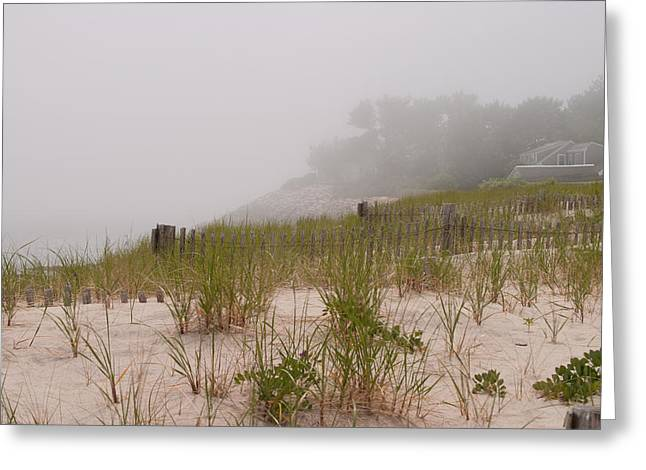 foggy morning on Chatham beach Greeting Card by Jeff Folger