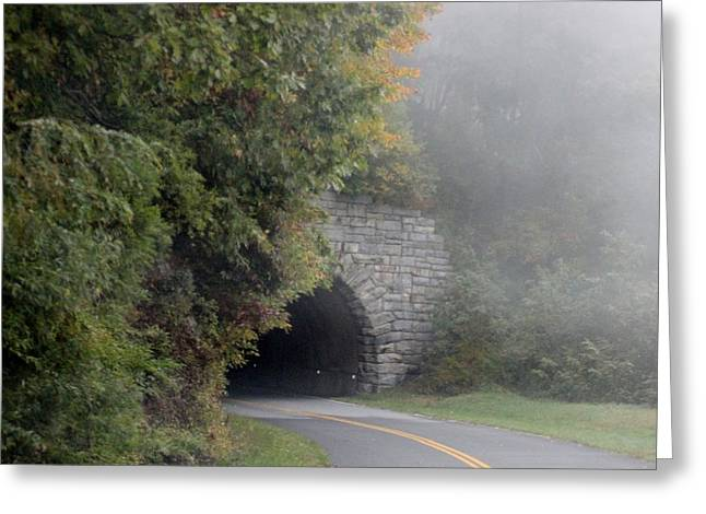 Foggy Morning On Parkway Greeting Card by Melony McAuley