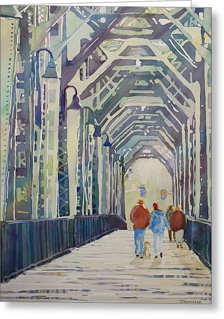 Foggy Morning On The Railway Bridge Two Greeting Card by Jenny Armitage