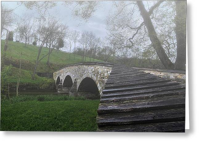 Foggy Morning Over The Antietam Creek Greeting Card by Dave Sandt
