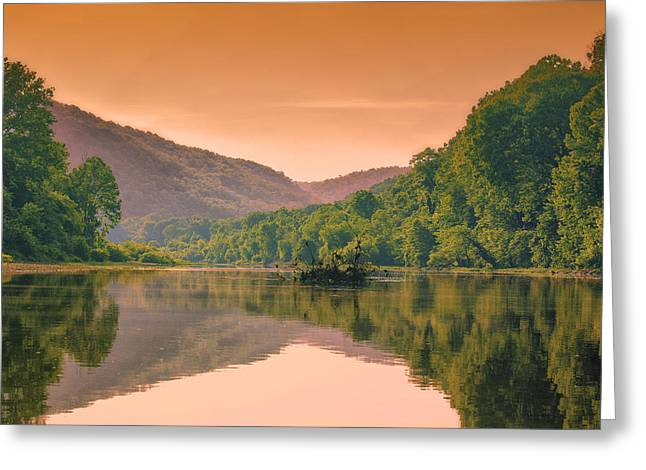 Foggy Morning Sunrise Along Buffalo River Greeting Card by Bill Tiepelman