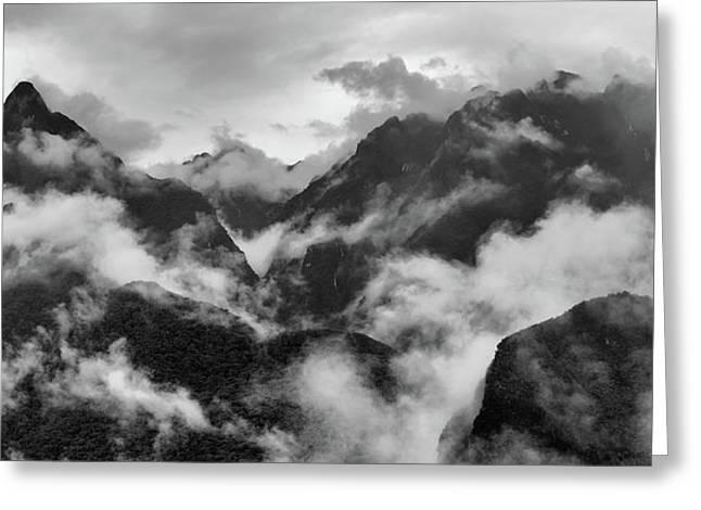 Foggy Mountains Around Machu Picchu Greeting Card