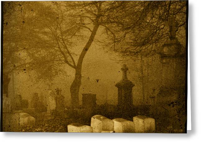 Foggy Necropolis Greeting Card by Gothicrow Images