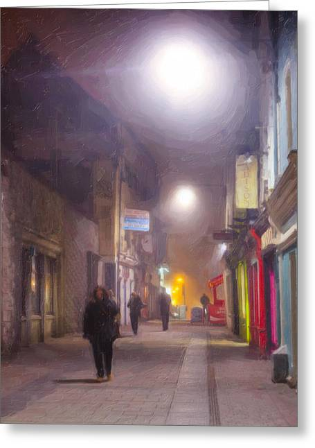 Foggy Night In The Heart Of Galway Greeting Card by Mark Tisdale