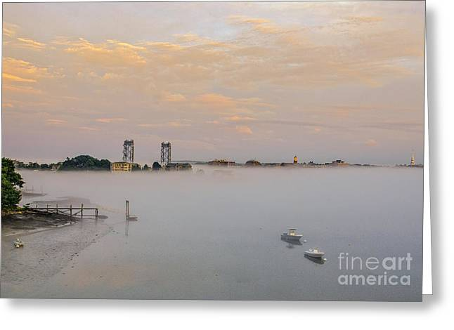 Foggy Portsmouth Greeting Card by Scott Thorp