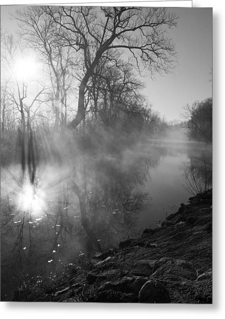 Foggy River Morning Sunrise Greeting Card