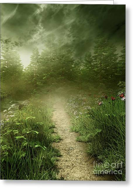 Foggy Road Art Greeting Card by Boon Mee