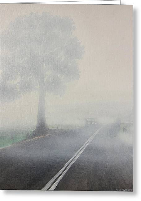 Greeting Card featuring the painting Foggy Road by Tim Mullaney