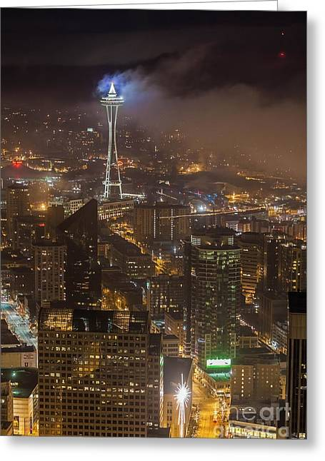 Foggy Space Needle Greeting Card by Mike Reid