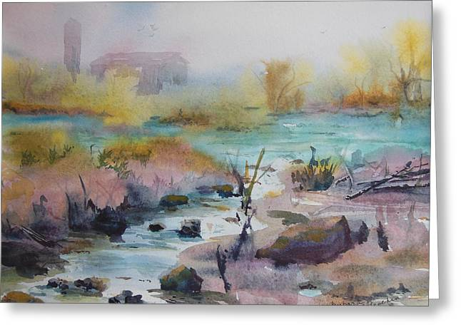 Foggy Stream Greeting Card by Barbara McGeachen