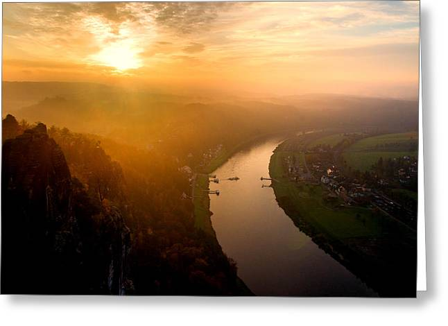 Foggy Sunrise At The Elbe Greeting Card