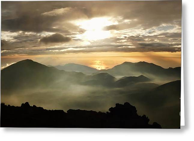 Foggy Sunrise Over Haleakala Crater On Maui Island In Hawaii Greeting Card