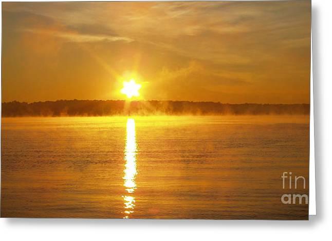 Foggy Sunrise Over Manhassett Bay Greeting Card by John Telfer
