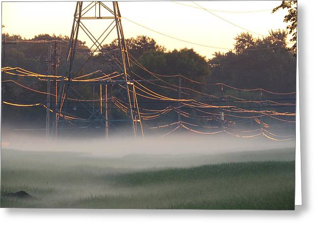 Greeting Card featuring the photograph Foggy Sunrise Wires by Nikki McInnes