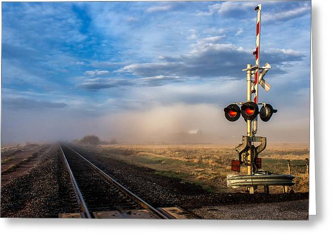 Foggy Train Tracks Greeting Card