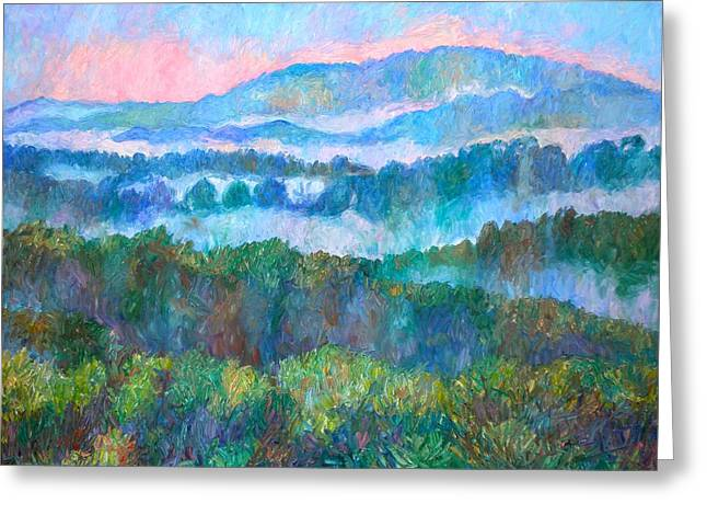 Foggy View From Mill Mountain Greeting Card by Kendall Kessler