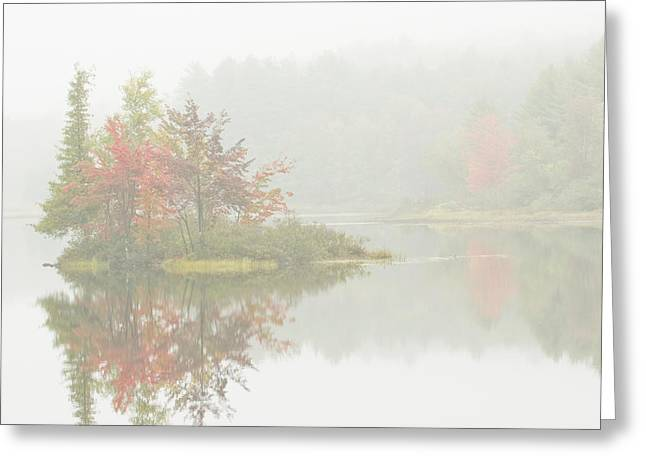 Foggy Weather And Fall Colors On Flying Pond Vienna Maine Greeting Card by Keith Webber Jr