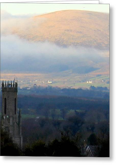 Foggy Wicklow  Mountains.  Greeting Card by Joseph Doyle