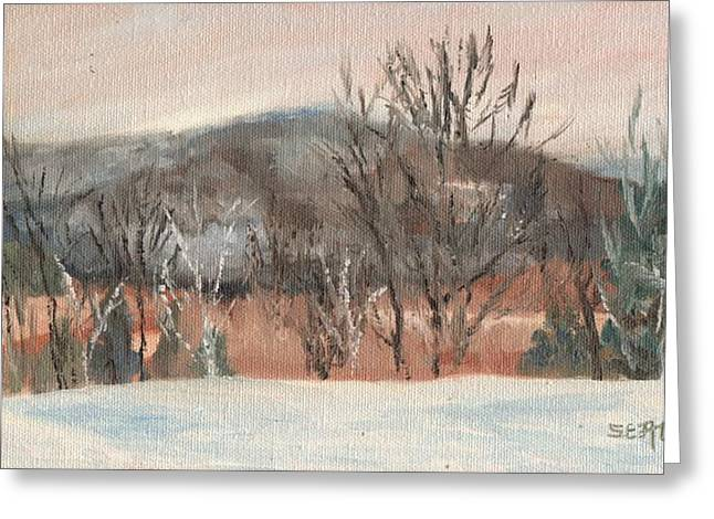 Foggy Winter Morning In Intervale Greeting Card by Sharon E Allen