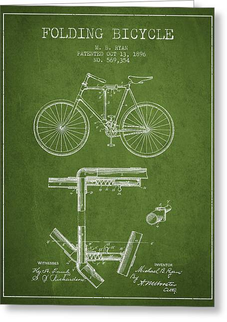 Folding Bicycle Patent Drawing From 1896 - Green Greeting Card