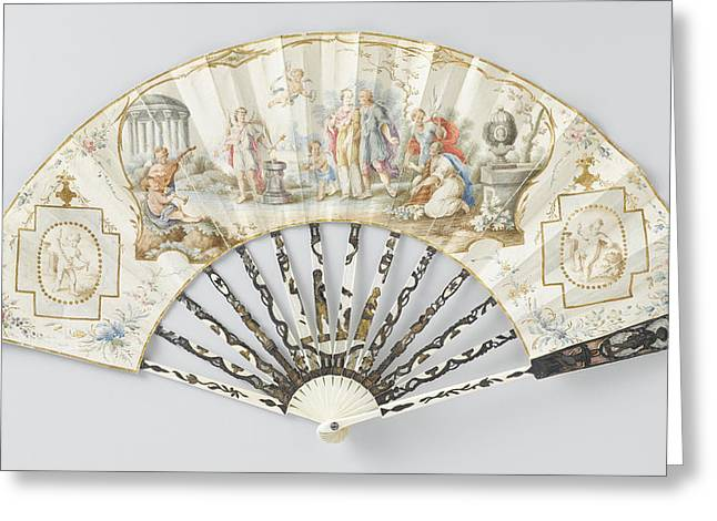 Folding Fan With Sheet Of Thin Leather With In Watercolor Greeting Card by Litz Collection
